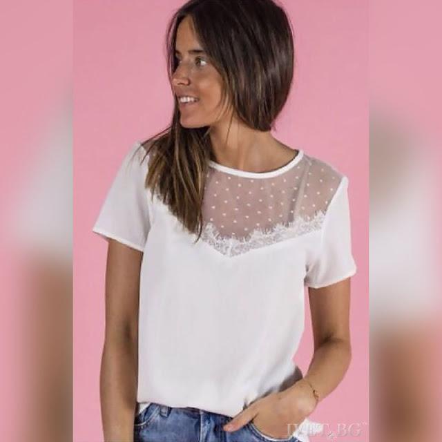 Κοντομάνικη άσπρη γυναικεία μπλούζα MALENA