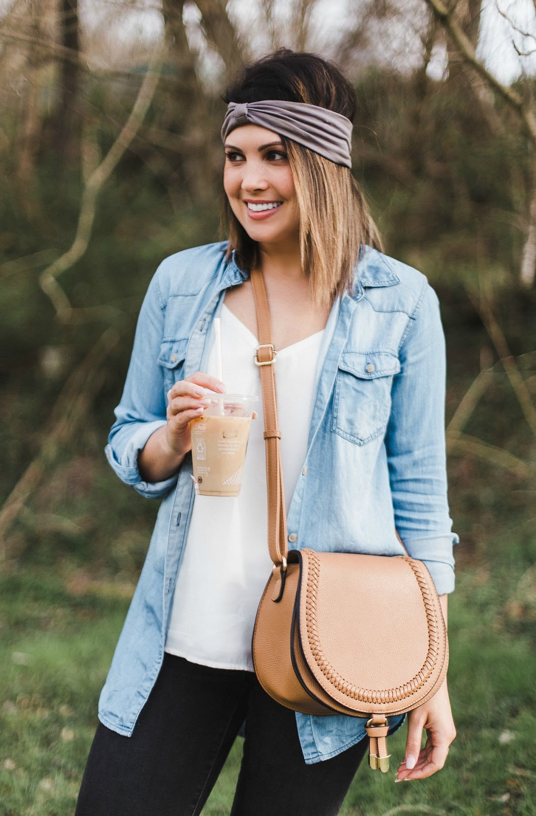 open chambray shirt outfit, boho style, turban headband, xo samantha brooke, samantha brooke, life and messy hair, sam brooke photo, samantha brooke photography, nc blogger, lifestyle nc blogger, lifestyle photographer, marc fisher platform wedges