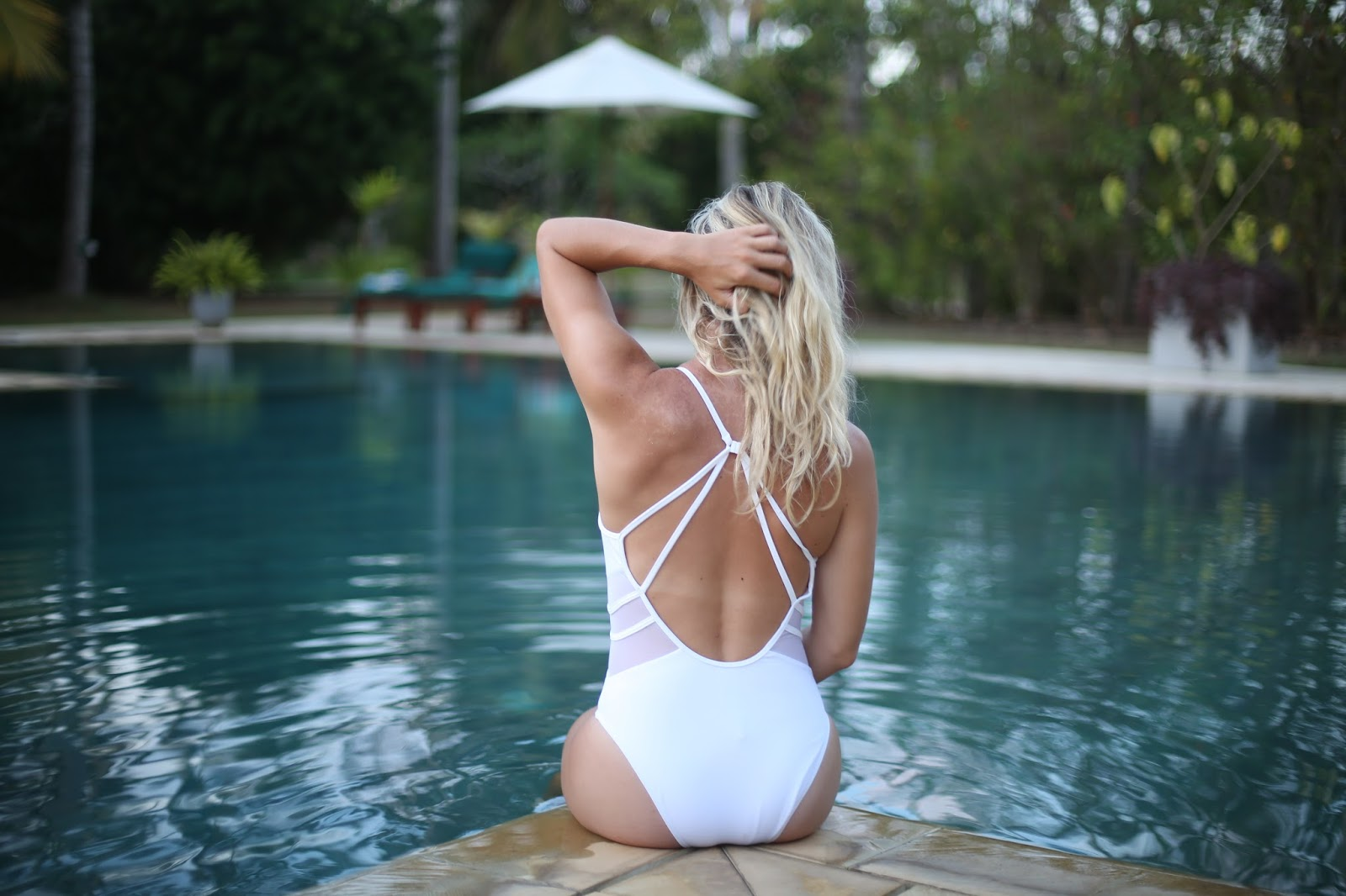 backless white swimsuit