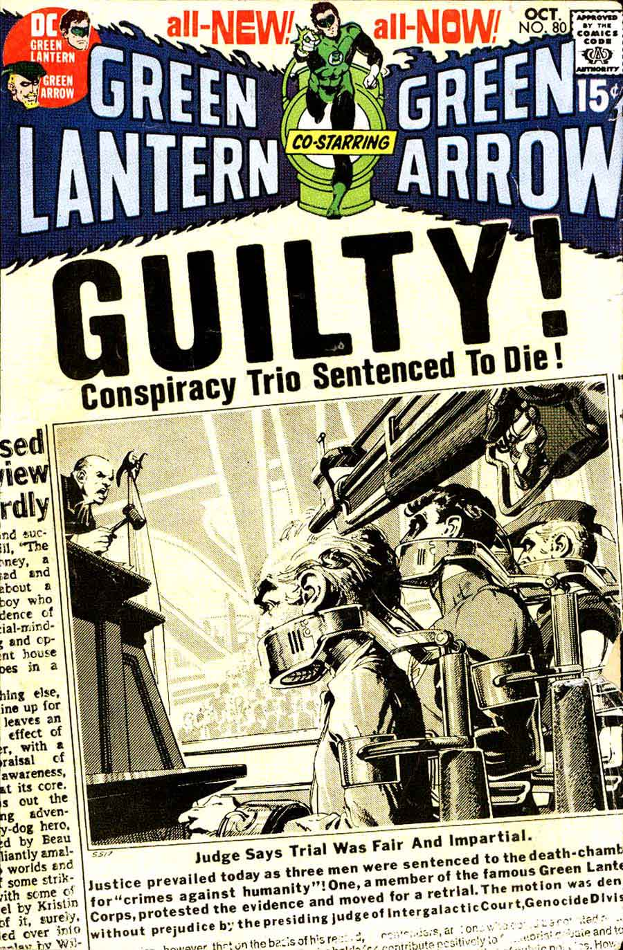Green Lantern Green Arrow #80 dc comic book cover art by Neal Adams