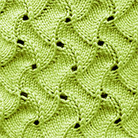 Scroll Lace stitch worked in the round. This is actually a nice, quic k knit with a very easy to follow pattern.
