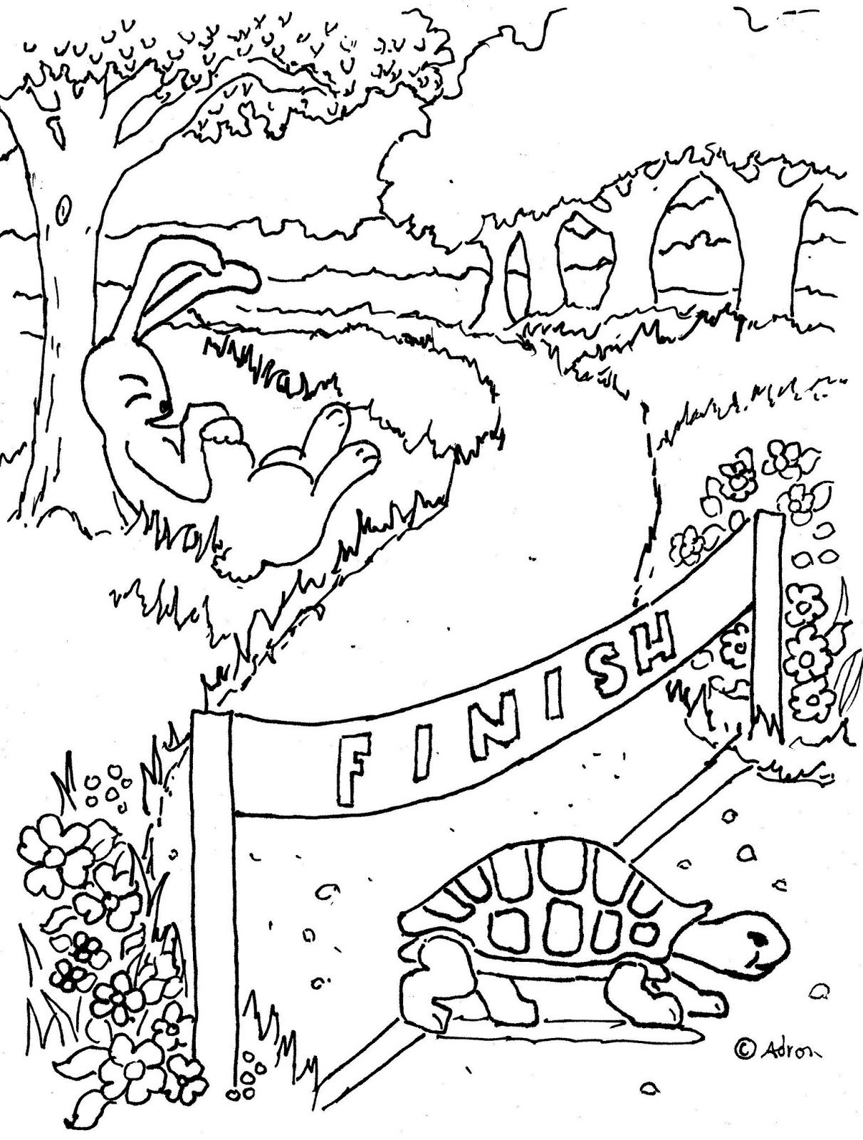 coloring pages for kids by mr adron tortoise and the hare print