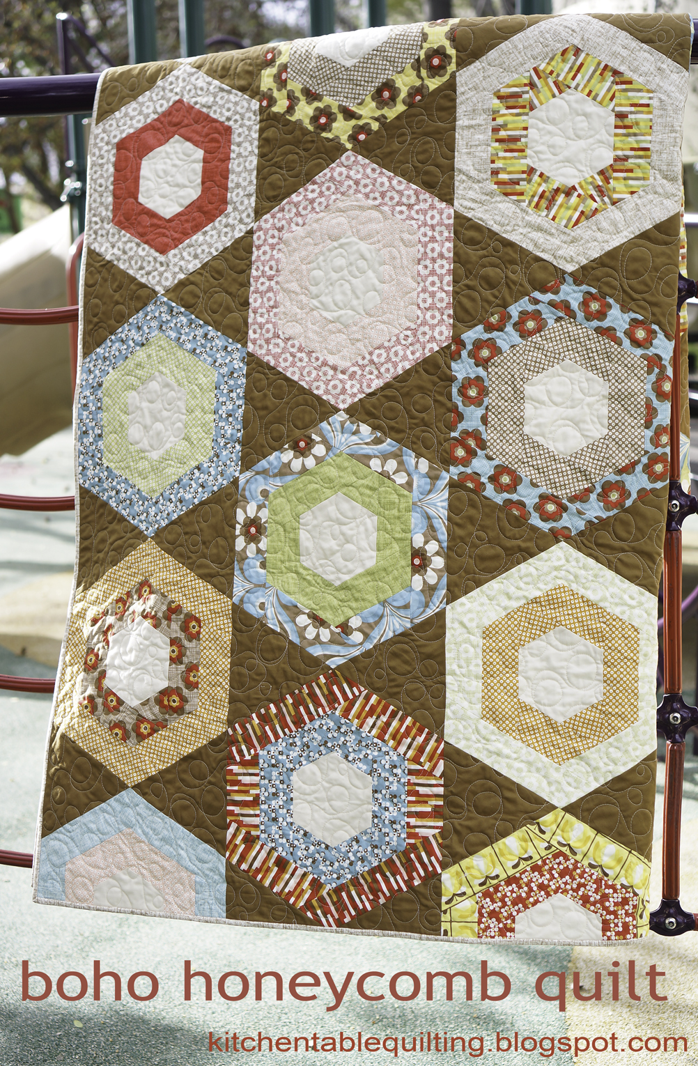 Boho Honeycomb Quilt | Kitchen Table Quilting