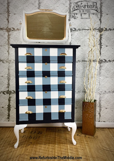 vintage, dresser, buffalo check, gingham, in the navy chalk paint, brass cup pull handles,