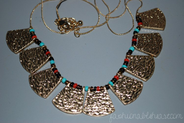 Target beaded fan necklace