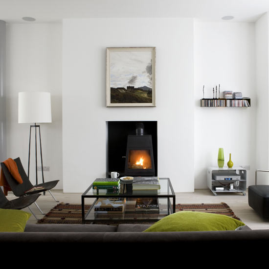 New home interior design modern living room collection 2 - Living room with wood burning stove ...