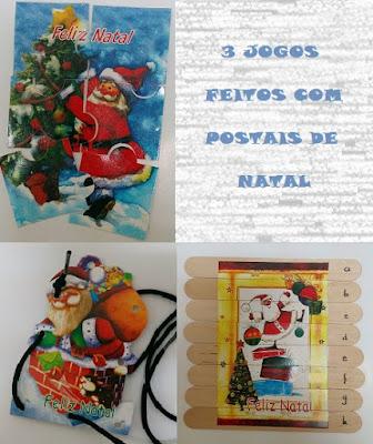 Jogos feitos com postais de Natal