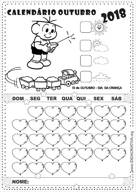 Calendário Outubro para Imprimir Turma da Mônica