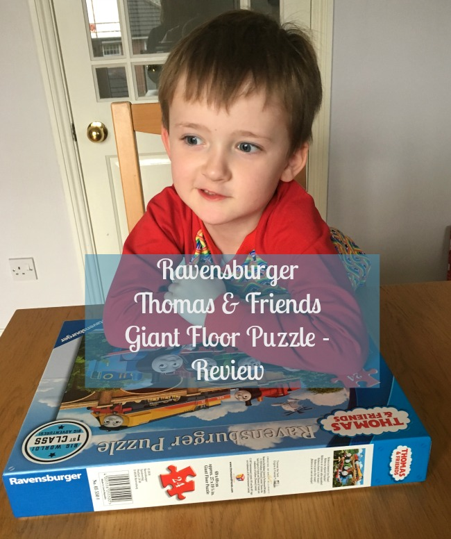 Ravensburger-Thomas-and-Friends-Giant-Floor-puzzle-review-text-over-image-of-boy-with-puzzle