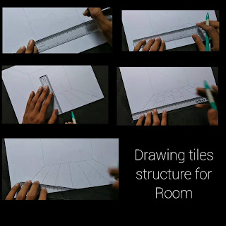 drawing rooms tiles, room drawing with pencil, step by step tutorial, one point perspectives drawing, begginers drawing, house drawing,kids drawing