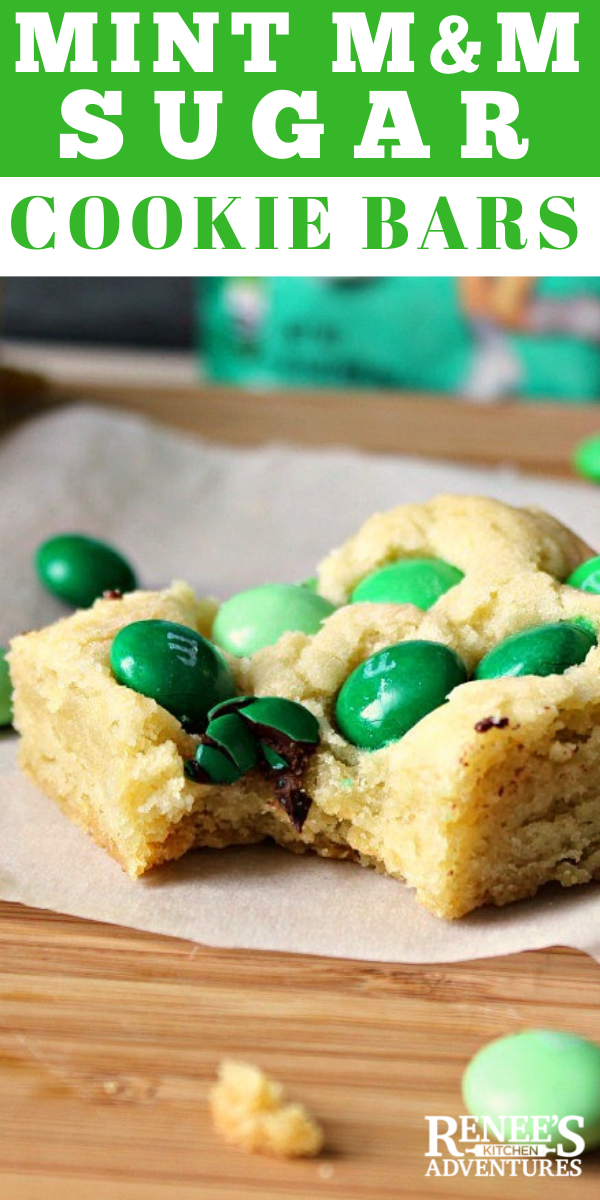 Mint M&M Sugar Cookie Bars pin for Pinterest