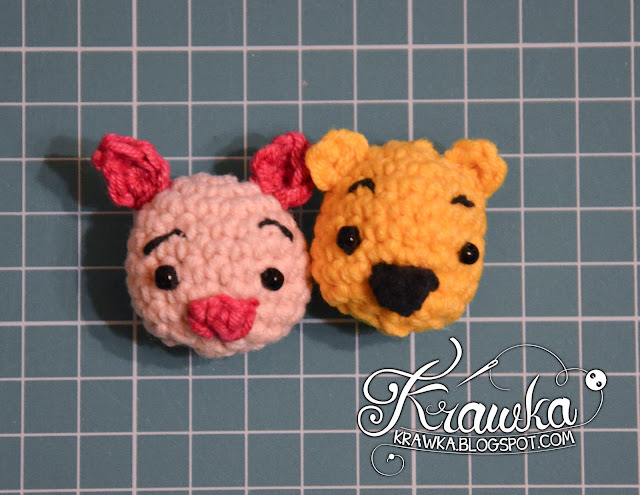 Krawka: Winnie the Pooh and Friends - minis. Crochet free pattern for mini Pooh, cute piglet, little rabbit, sad eeyore, sweet heffalump. Tsum-tsum style