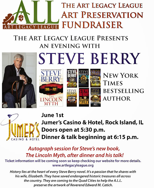 Join Me for an Evening With Steve Berry- Art Preservation Fundraiser!!!!!!