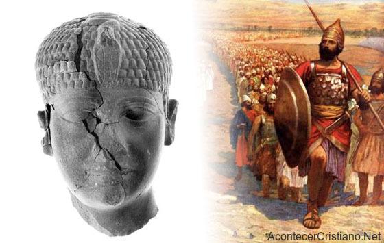 Escultura de la cabeza de un faraón encontrado en Hazor, Israel.