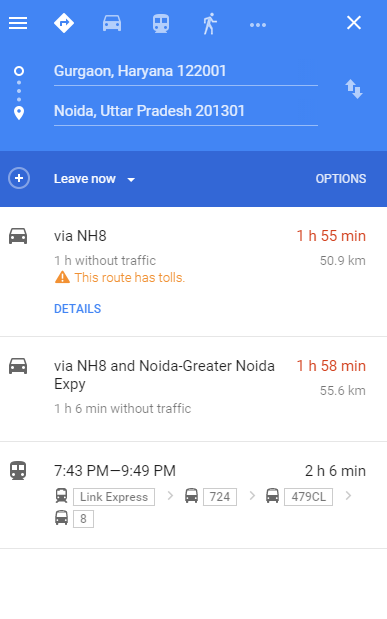 Google Map find route toll free