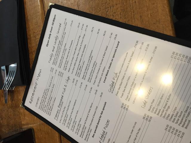 The Tribells Llandudno menu