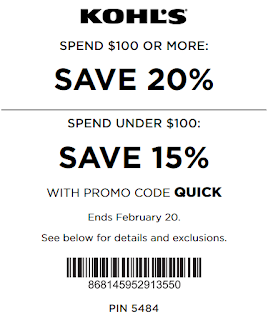 Kohls coupon 20% off $100 or 15% off under $100 spend