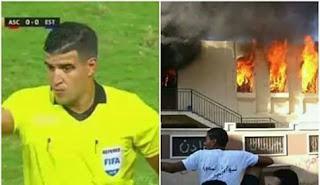 عاجل حريق منزل حكم مباراة الاهلي و الترجي
