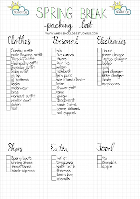 Bullet Journal Packing Lists