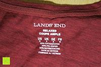 Aufdruck: Lands' End - Baumwoll/Viskose-Shirt mit V-Ausschnitt