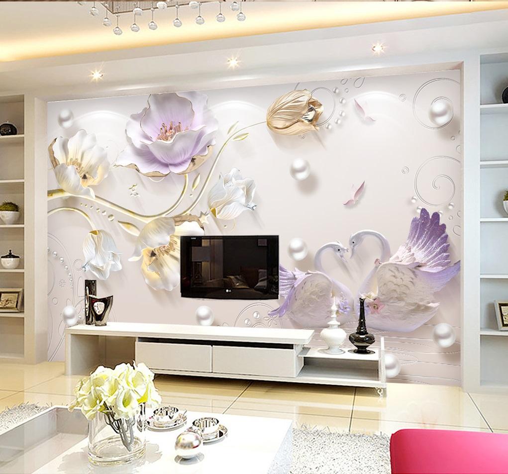 Tranh dán tường 3d hoa mộc lan tím