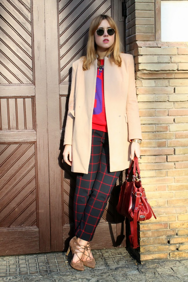 Plaid pants, camel coat