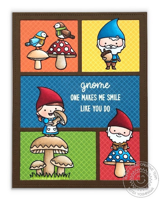 Sunny Studio Stamps: Gnome Sweet Gnome Card featuring Comic Strip Everyday Dies & Gingham 6x6 Patterned Paper