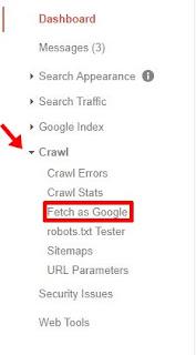 pilih menu crawl, lalu klik fets as google