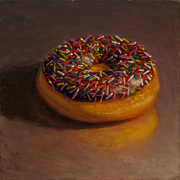 Wang Fine Art a Doughnut Still Life Daily Painting a Painting a Day