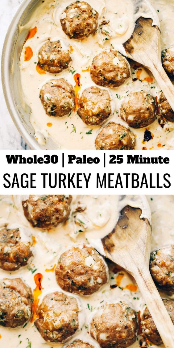 Turkey Sausage Meatballs In Sage Cream Sauce