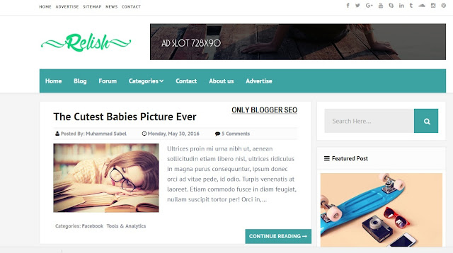 Relish Responsive Blogger Template Free Download