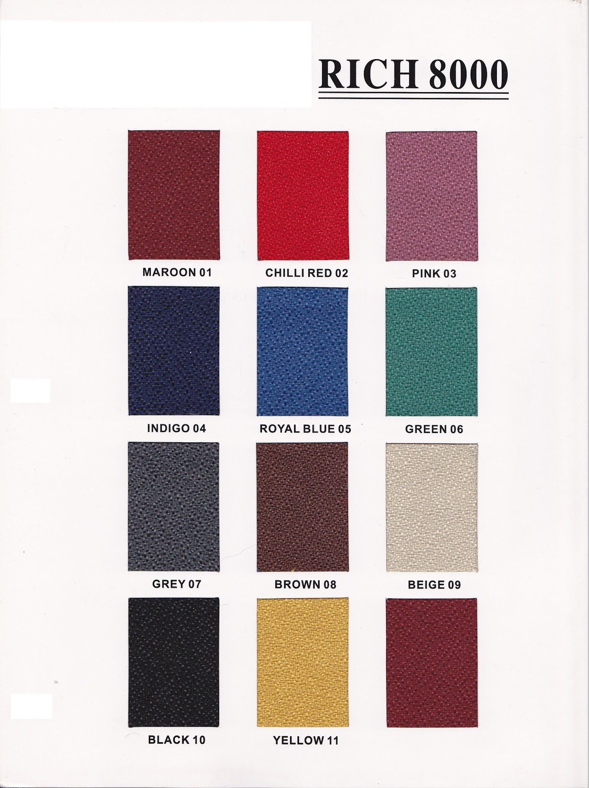 FOCUS TNL OFFICE CONCEPT: Color Chart for Chairs