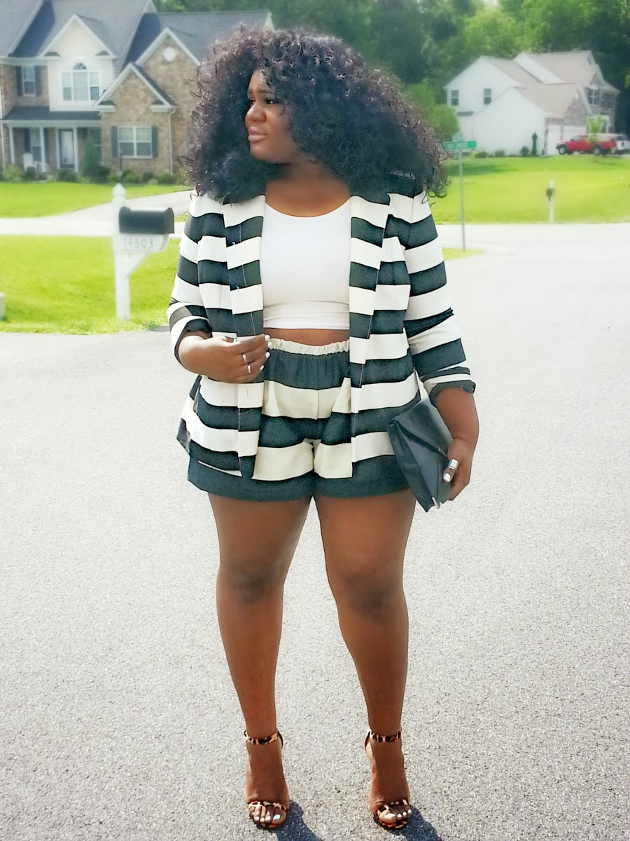 Amarachi Ukachu, Stripe shorts & blazer, plus size fashion, DIY