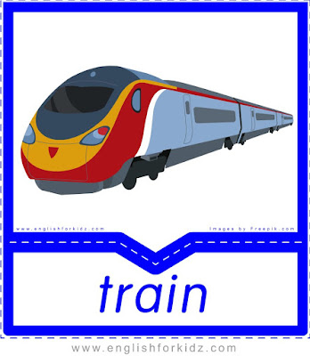 Train printable transportation flashcard with picture