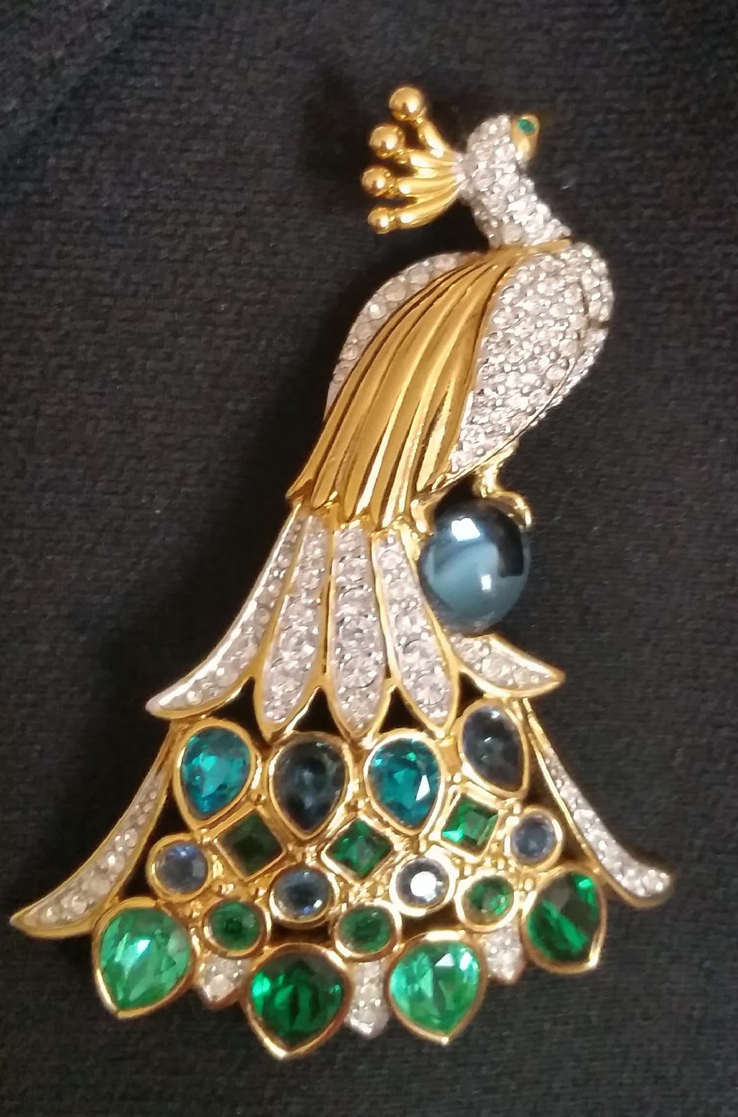 7b4e6efb9a6 SWAROVSKI SIGNED PAVE' CRYSTAL PEACOCK PIN ~ BROOCH RETIRED - Wearable art  ~ Scroll down for my version of wearable art