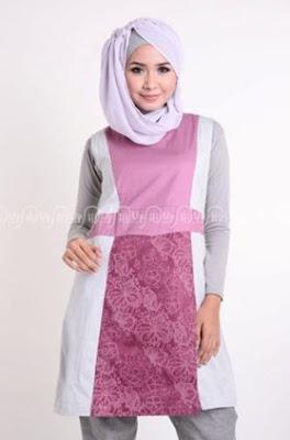 Model tunik batik kombinasi polos