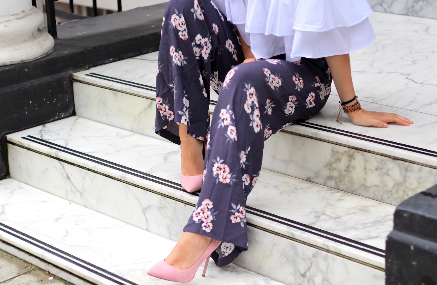 wide leg trousers floral new look