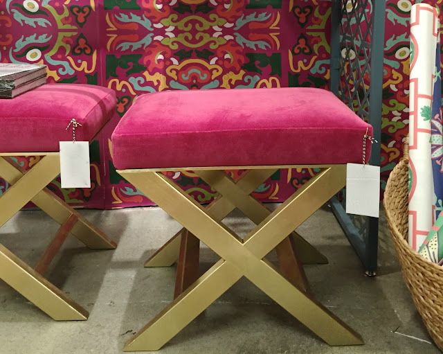Bold hot pink small bench with gold legs