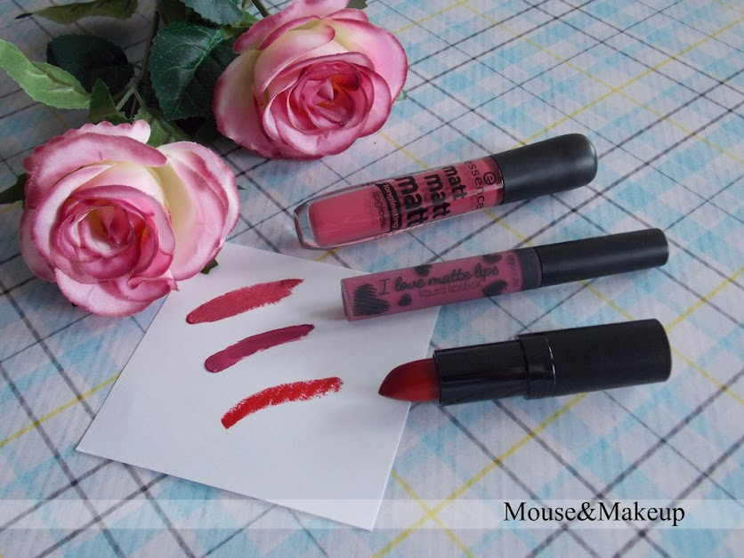 Essence Matt Matt Matt Longlasting Lipgloss nr 03 Girl of Today oraz MySecret I love matte lips liquid lipstick nr 14 oraz Rimmel Kate Moss nr 01