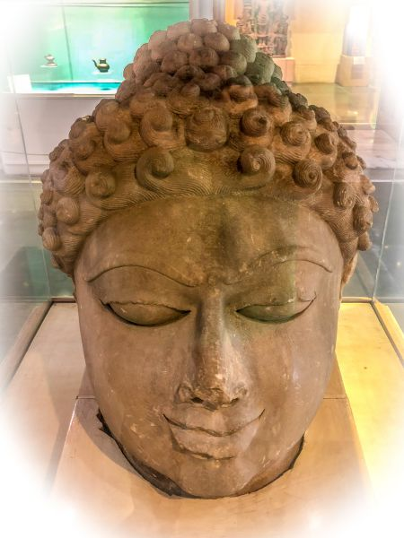 Severed head of an idol at Chanderi Museum