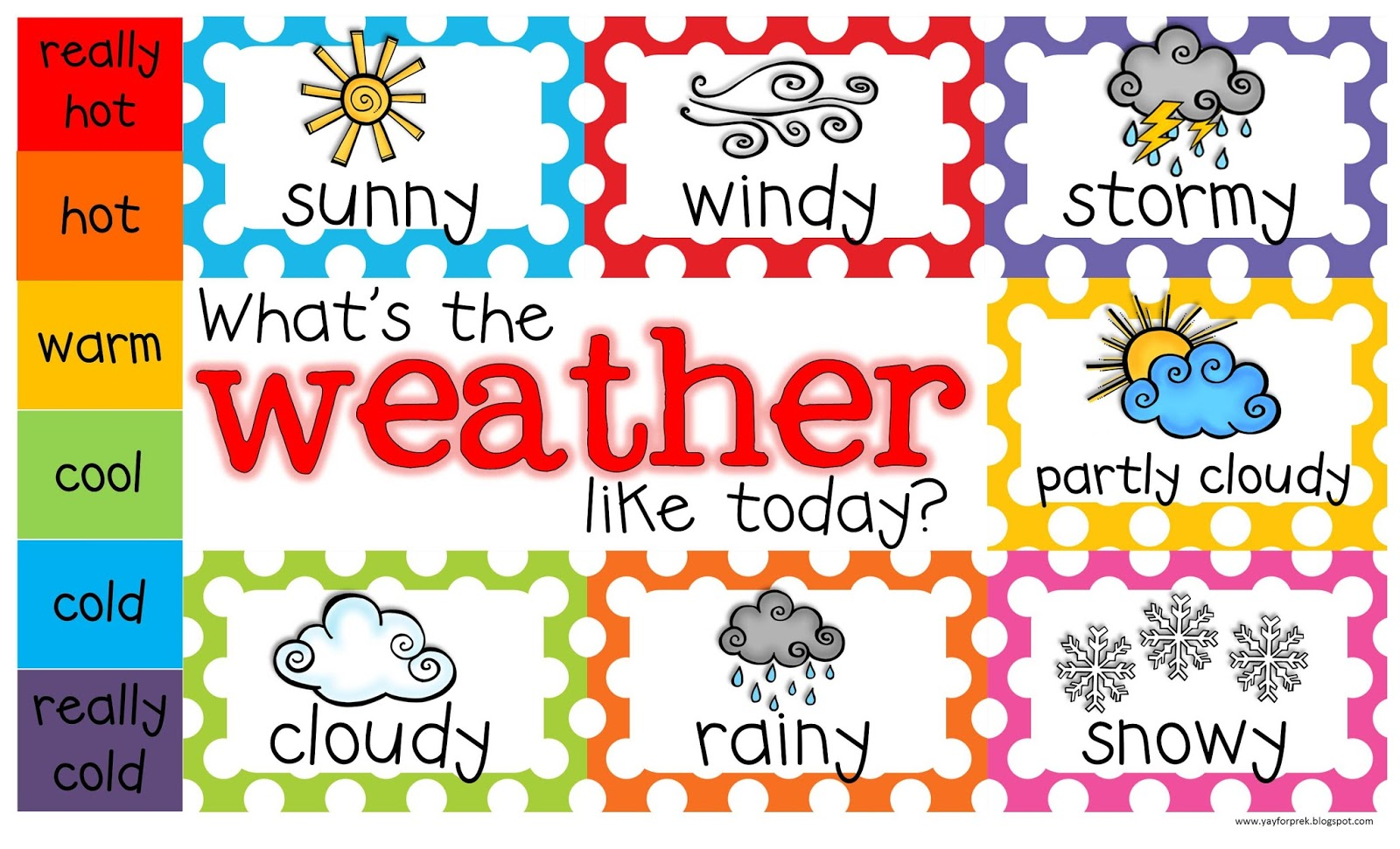 Yay For Prek Weather Chart Freebie