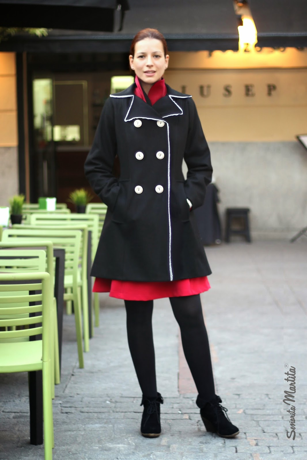 black wool coat with white buttons by Senorita Martita