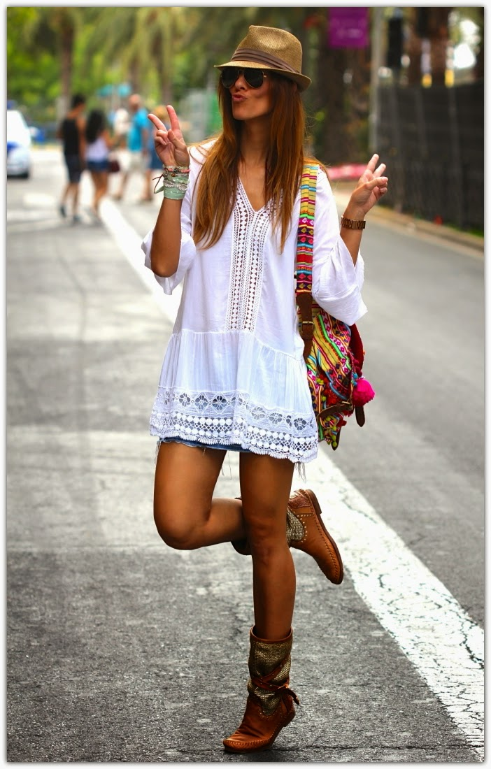 Art Symphony White Boho Tops