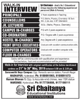 JR.Lecturers/Computer Operators Jobs in Sri Chaitanya Educational Institution  2019 Recruitment Walk-in interview, Hyderabad