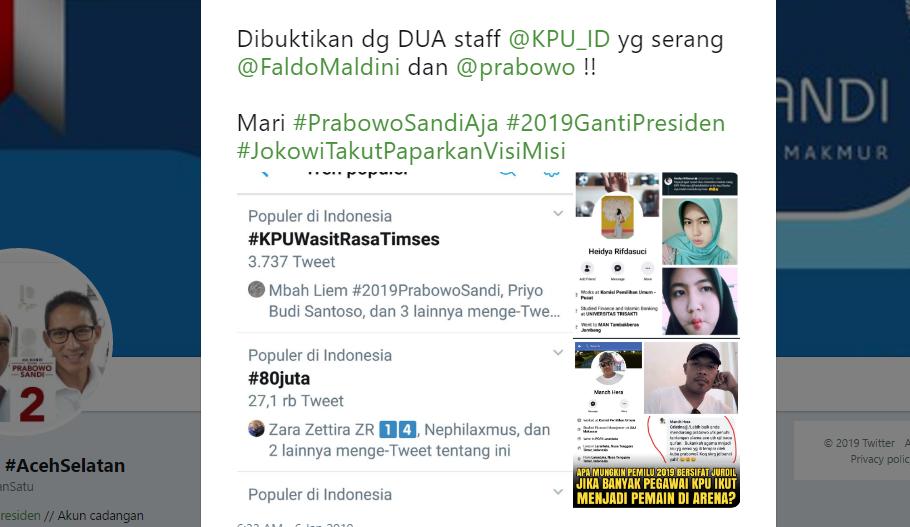 2 Staf KPU Serang Prabowo dan Caleg PAN, Trending #KPUWasitRasaTimsesKPU Jadi Pemain