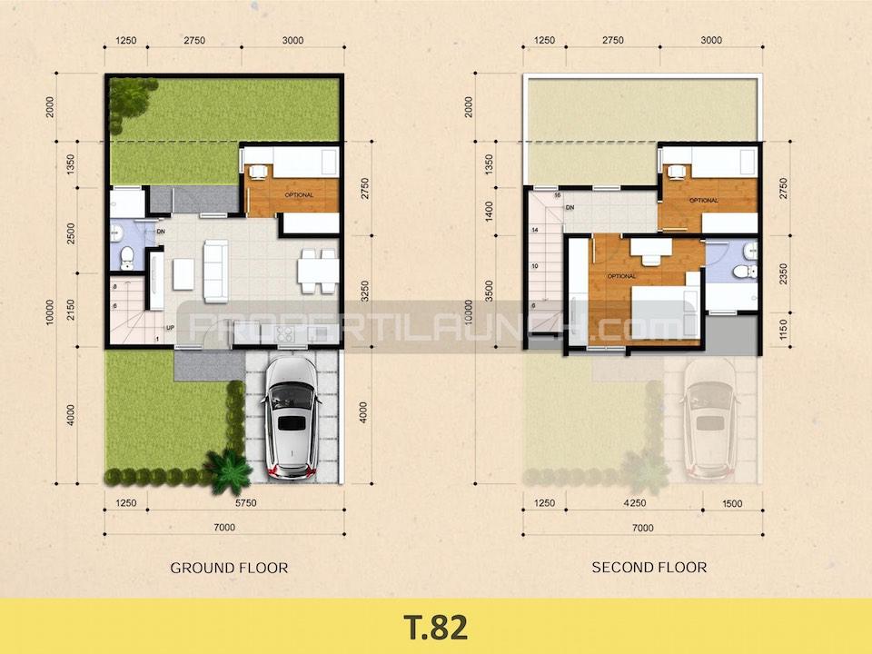 Denah Rumah Cluster Kireina BSD City Tipe 82