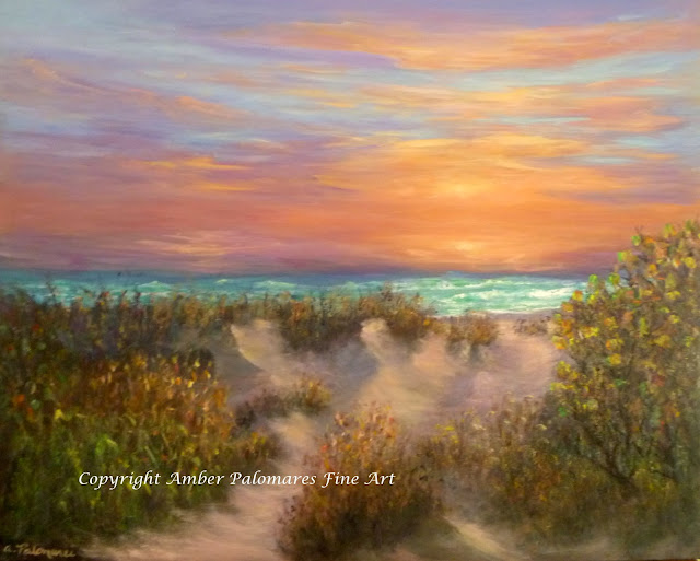 Path by the Ocean Coastal Sunset Painting