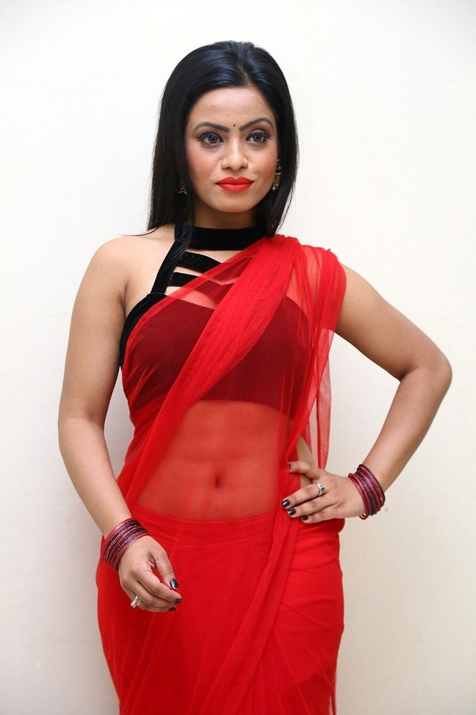 Aasma Syed In Red Hot Saree at Premika Audio Launch