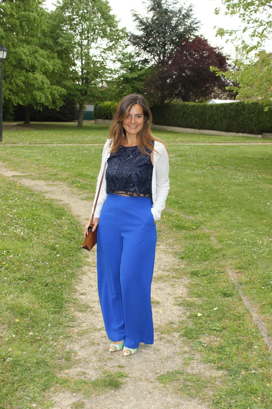 pantalon suncoo large bleu, top zara, les petites bulles de ma vie