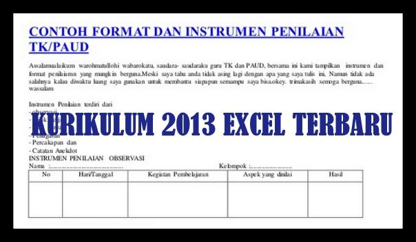 Download Contoh Instrumen Penilaian Harian TK/PAUD Kurikulum 2013 Format Excel